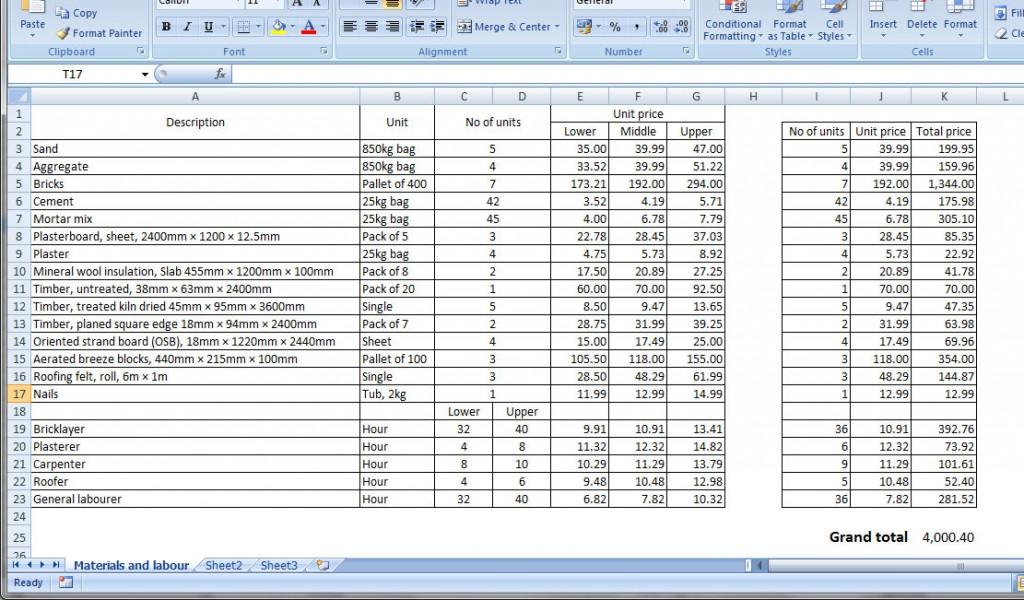 Figure 5.1: Screen shot of spreadsheet model